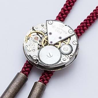 【tie*on】機械式時計ループタイ 腕時計のムーヴメント(ムーブメント)使用 スチームパンクな装いに (えんじ(赤))
