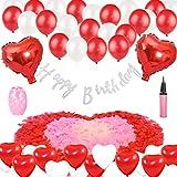 誕生日飾り レッド  ハートバルーン 赤い 白い 子供  大人 誕生日 パーティー飾り  Happy birthdayバナー フラワーシャワー リボン 空気入れ付き
