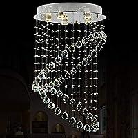 LEDラウンドクリスタルシャンデリアシーリングライトK9クリスタルレインドロップシャンデリアライティングクローム仕上げガラスドロップレット304ステンレススチールシャーシ,銀,50 * 80