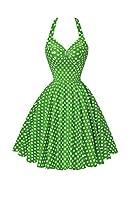 YACUN レディース 水玉模様 の ワンピース ドレス ホルター パーティー 二次会 Green M