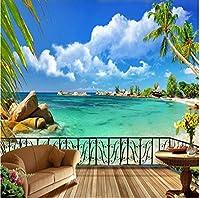 Sunkumo 夏のビーチテラス風景3D壁壁画写真壁画カスタム壁紙リビングルームテレビ背景お問い合わせ紙-350X250Cm