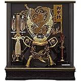五月人形 ケース入り 兜 ハヤブサ 金 パノラマアクリルケース 幅38cm [fn-26] 端午の節句