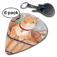田園猫 バスケット ギターピック トライアングル 高品質セルロイド それぞれ厚さ カラフル 多種多色 ピック×6枚