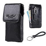 スマホベルトポーチ 縦型レザーウエストクリップケース マグネットボタン付き iPhone 7 6S Plus Samsung Galaxy S7 Edgeなどのスマホ対応 男性用財布カバン (黒)