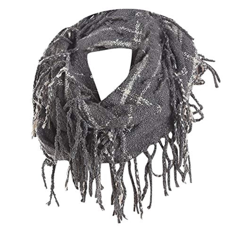 Coerni レディース スカーフ 冬 暖かい 格子縞 ステッチロングウール ショール ソフトネック スカーフ 11.8''-31.5'' グレイ RDH-568I