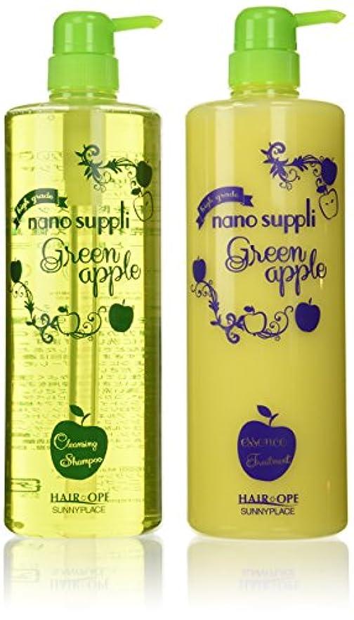 豊富な散文亜熱帯サニープレイス ナノサプリ クレンジングシャンプー&コンディショナー アップル 1000mlボトルセット