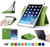 Fyy iPad 6(iPad Air 2)専用PUレザーケース スリム ペンホルダ/オートスリープ/スタンド機能付き マグネット開閉式 グリーン