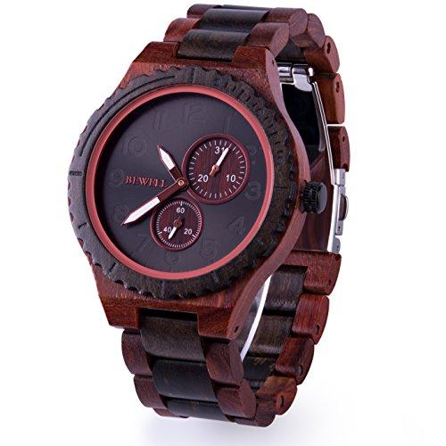 BEWELL 腕時計 木製 ウッドウォッチ メンズ 日本製クォーツ 日付表示 天然木 アナログ腕時計 大きい文字盤 男性用 誕生日 父の日 ギフト(赤檀と黒檀)
