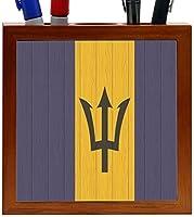 Rikki Knight Barbados Flag on Distressed Wood Design 5-Inch Wooden Tile Pen Holder (RK-PH8610) [並行輸入品]