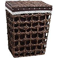 籐のランドリーバスケットコットンリネンライニング蓋の汚れたハンパーの服雑貨の収納バスケットブラウン (サイズ さいず : 39 * 30 * 50cm)
