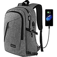 (1-Grey) - Mancro Business Water Resistant Polyester Laptop Backpack with USB Charging Port and Lock Fits Under 43cm Laptop and Notebook, Grey