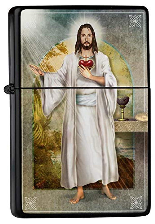 エンジン穀物ソートPetrol lighter ライター Printed Heart of Jesus Cross