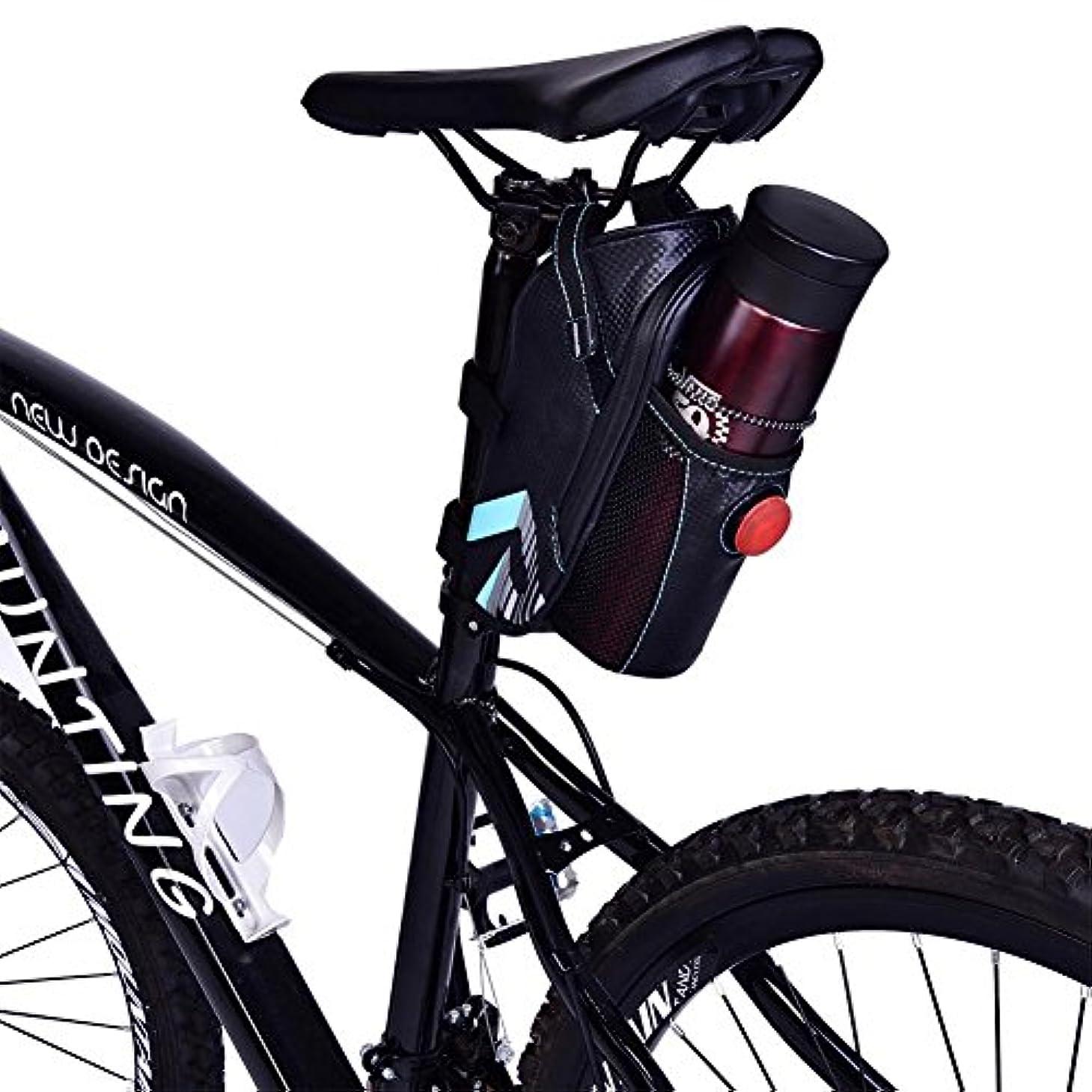 高層ビルウール変更ROSWHEE自転車のサドルバッグ防水自転車サドルシートバッグのパックの下に添付警告安全テールライトとストレージウォーターボトルポケットブラック