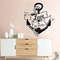 Hnzyfウォールステッカー航海家の装飾愛ボートアンカーウォールステッカー取り外し可能なアート背景ウォールステッカー家の装飾リビングルームStickers