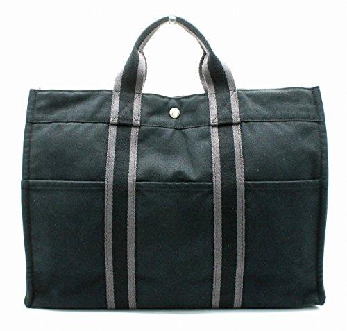 [エルメス] HERMES フールトゥ トートMM トートバッグ ハンドバッグ キャンバス ブラック 黒 グレー 灰色