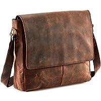 SC 15 Inch Genuine Buffalo Leather Messenger Bag in Vintage Style Leather Satchel School Women Handbag Colled Crossbody Bag