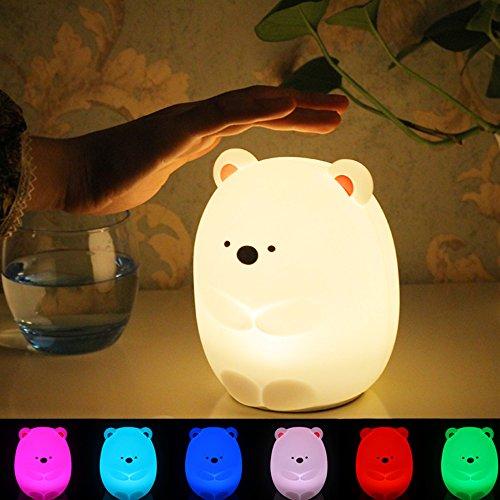 ベッドサイドライト Miyasora シリコンランプ LEDナイトライト 常夜灯 7色変化 USB充電 子供用 授乳用 プレゼント 萌え萌えくま