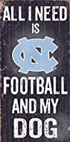 "North Carolina Tar Heels Wood Sign – Football and Dog 6 "" x12 """
