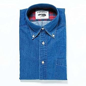 [クリケット] CRICKET シャツ オリジナル インディゴ染め無地ボタンダウンカラーシャツ(Sサイズ) ターコイズブルー