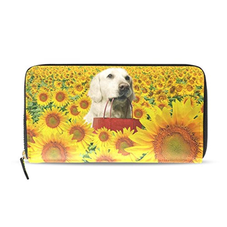 AOMOKI 財布 レディース 長財布 大容量 PUレザー 幅20*丈11cm ひまわり 犬