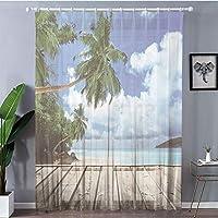 装飾 レースカーテン 紫外線カット 断熱効果 150x178cm アート、パームツリーズエキゾチックプリント、グリーンネイビーブラウンと海のデッキピアから熱帯の島ビーチ