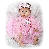 Poseableベビーガール人形シリコン青い目Reborn Babies Newborn Baby Look Real、22インチ