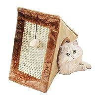 スクラッチポスト付きプレミアムピラミッドキャットベッドの洞窟、おもちゃのボールが付いている暖かい子猫の隠れ家の隠れ家、猫と子猫のための完全に折りたたみ式の猫の家/洞窟コンド,Brown,L
