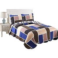 MarCielo 2 Pieceセット軽量キルトベッドスプレッドキルトスロー毛布すべてのシーズンベッドプリントベッドCoverlet、ツインサイズ、フルサイズ、ジオメトリブルー フル 14206875