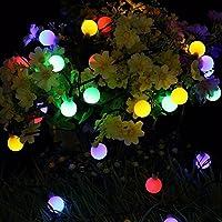 可愛くて小さなボールLED、SIMPLE DO イルミネーションライト 50球根 ストリングライト ソーラー充電式 飾り ワイヤーライト 防水 キャンプ用 パーティー電飾(マルチカラー)