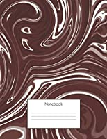 Notebook: 8.5 x 11 -150 Pages -  One Subject - College Ruled Composition Notebook For Writing and Note Taking For Kids, Teens and Adults - Maroon & White  Marbling Art Design Matte Cover