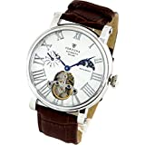[FORTUNA]フォルトナ 腕時計 太陽と月の機械式時計 自動巻き/手巻き スケルトン仕様/サン&ムーン メンズ腕時計 ホワイト