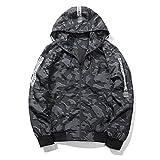 ASALIメンズ 迷彩ブルゾン ステッチのデザイン フード付きジャケット ジャンパー 薄手 春 ストリート おしゃれ ブルゾン カラーはダークグレー サイズはXL