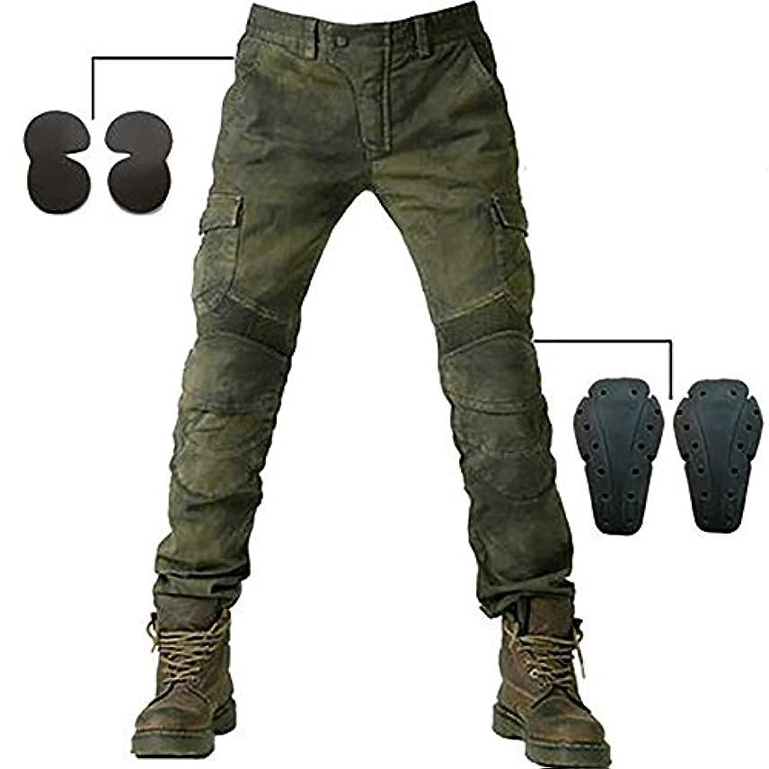 四面体延ばす吐くジーンズ バイク メンズ バイクパンツ バイク バイクウェア ライダーパンツ ライディングパンツ 耐磨 ストレッチ バイク用 プロテクター装備 (XL, グリーン2)
