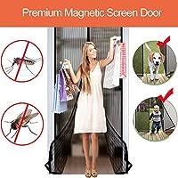 正面玄関および家の外のためのフルフレームのホック及びループ即刻の網のドアが付いている磁気スクリーンのドアの入り江の二重網のカーテンは容易に合います,Black,120*240CM
