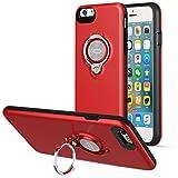 iPhone 6s Plusケース、ICONFLANGによる360度回転リンググリップケース、iPhone 6 Plusデュアルレイヤー耐衝撃性保護iPhone 6+ ケース、磁気ブラケットに適用されます (赤)