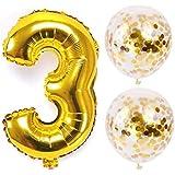 お誕生日パーティー 風船 飾り付け バルーンx2 数字(3)バルーン ゴールドx1 風船セット(QQ-03)