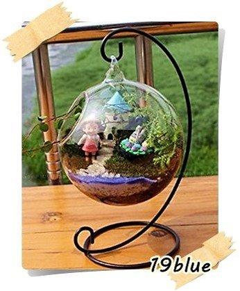 【19blue】 丸型 テラリウム アクアリウム ガラス 花瓶 ハンギング スタンド (15cm)