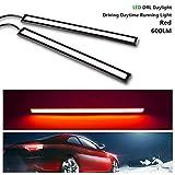 GreenClick LED デイライト 薄さ6ミリ 12V通用 両面テープ付 防水 強力 ムラ無し 長細身 17cm長 2本セット「レッド」