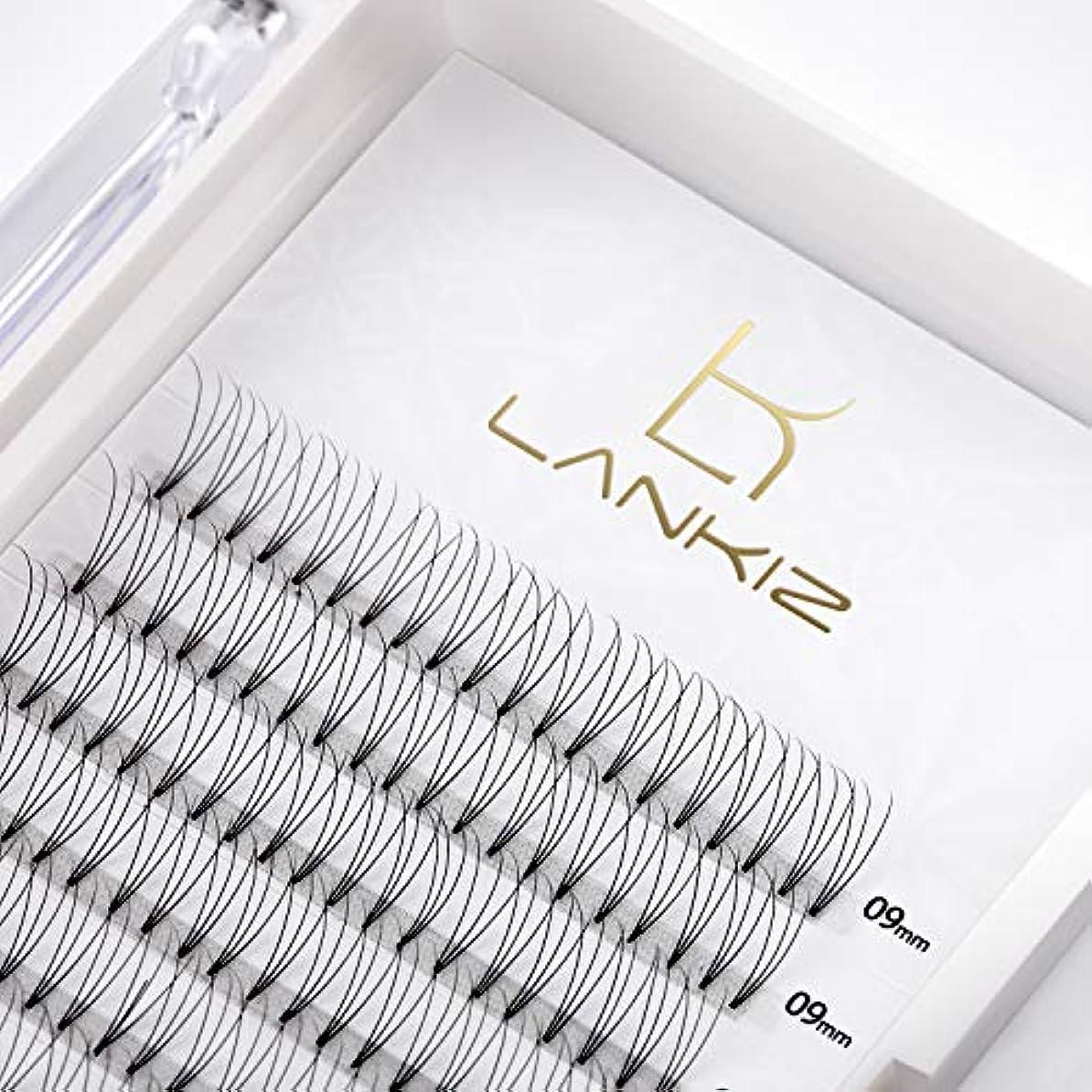 グリット書誌標高LANKIZ まつげエクステ 3D ボリュームまつげ Cカール 太さ0.10 9mm 12列 マツエク(3本束)