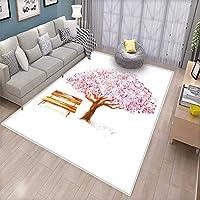 "Ivy Leaves and Flowers Buds Blossoms 自然なドアマット 内側にThank Youの引用句 アートフルプリント バスマット 浴室マット マルチカラー 6'6""x8' (W200cm x L240cm)"