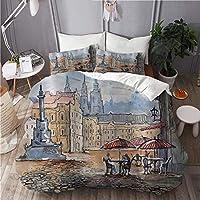 MISCERY 布団カバー,歴史的な城の建物のある旧市街のプラハの町,冬暖かい優れた寝具カ 4点 セットファッション,190x210cm