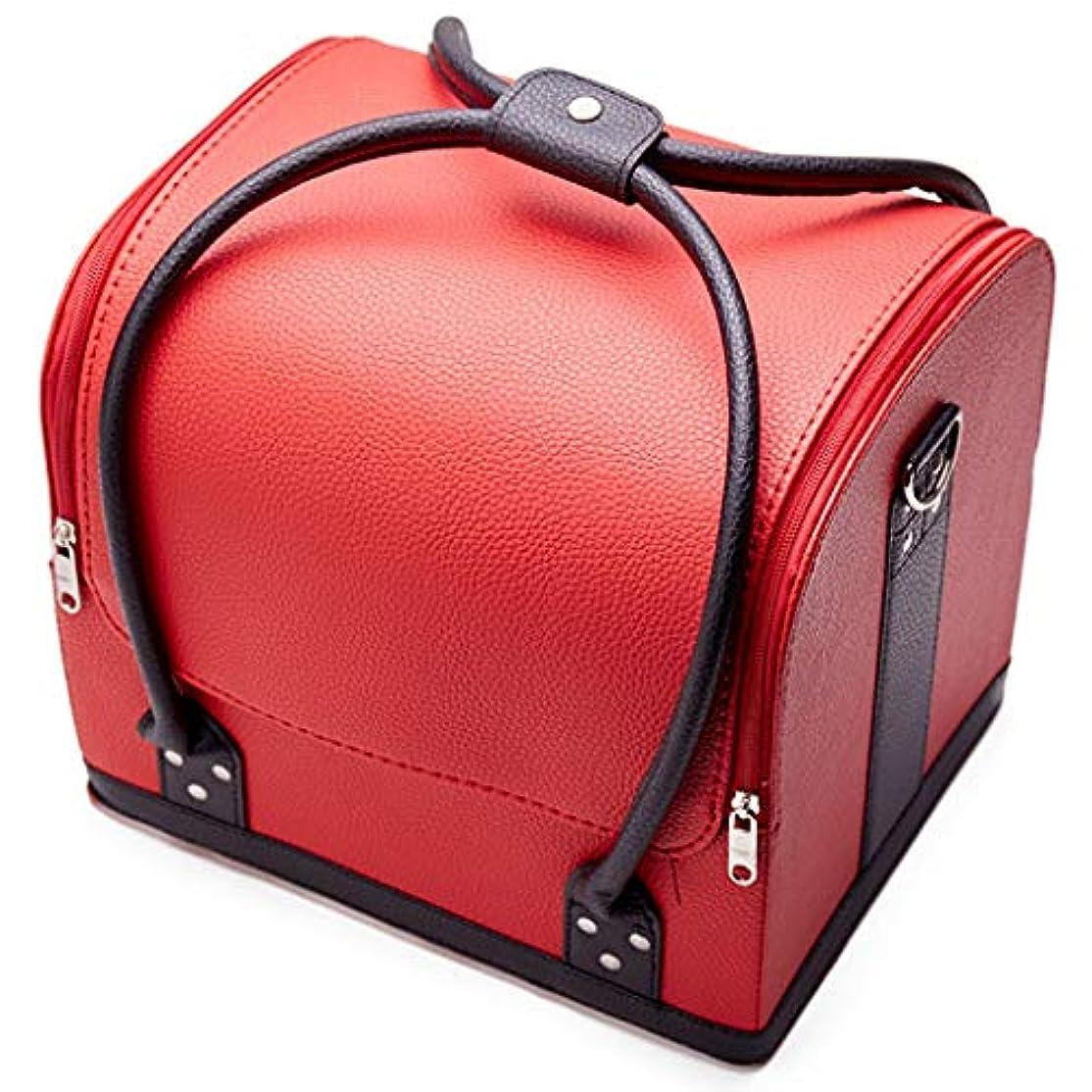 乱す最大の馬鹿げた[テンカ] メイクボックス コスメボックス 赤黒 ネイリストバッグ 化粧箱 収納ケース 収納ボックス 防水 洗える 化粧品?化粧道具入れ 自宅?出張?旅行?アウトドア撮影 プロ用 大容量 多機能