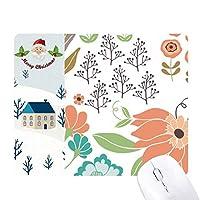 白のオレンジ色の花の植物塗料 サンタクロース家屋ゴムのマウスパッド