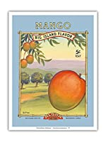 """マンゴー -""""アロハ""""種子 - ビッグアイランドシードカンパニー - ビッグアイランドフレーバー - ヴィンテージシードパケット によって作成された カーン・エリクソン - アートポスター - 23cm x 31cm"""