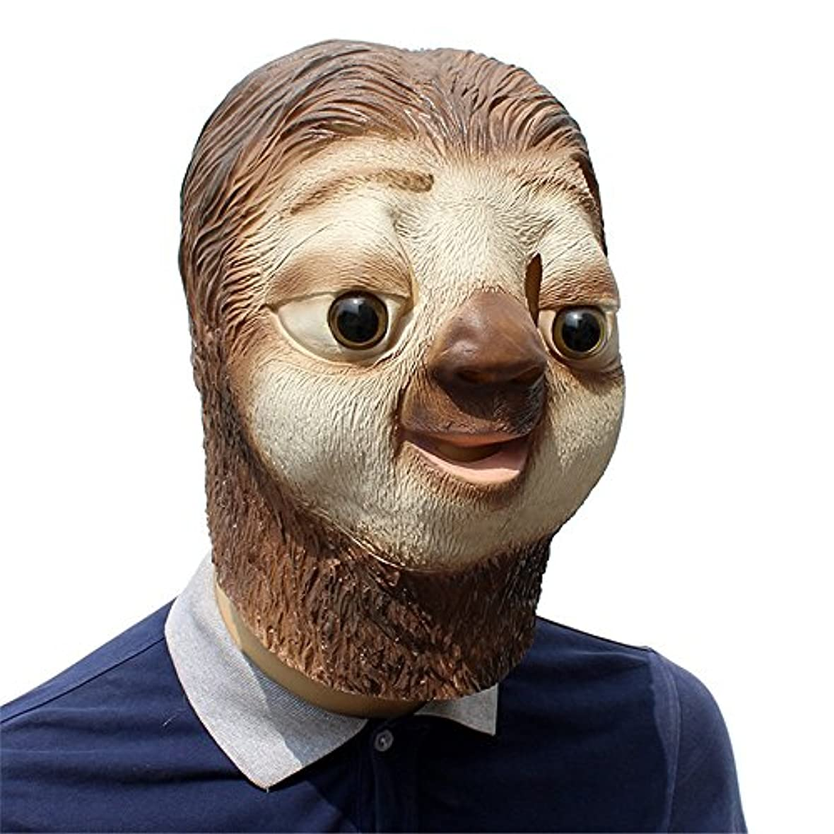 シュートギャンブル適応するラテックス動物怠惰な顔セットcosハロウィーン面白い動物ラテックスウィッグパーティー