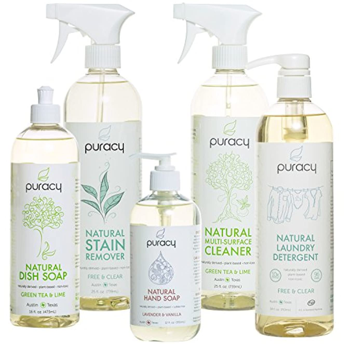 オリエンテーション染色平らなPuracy Natural Home Cleaning Essentials Set - Hand Soap, Dish Soap, Laundry Detergent, Multi-Surface Cleaner,...