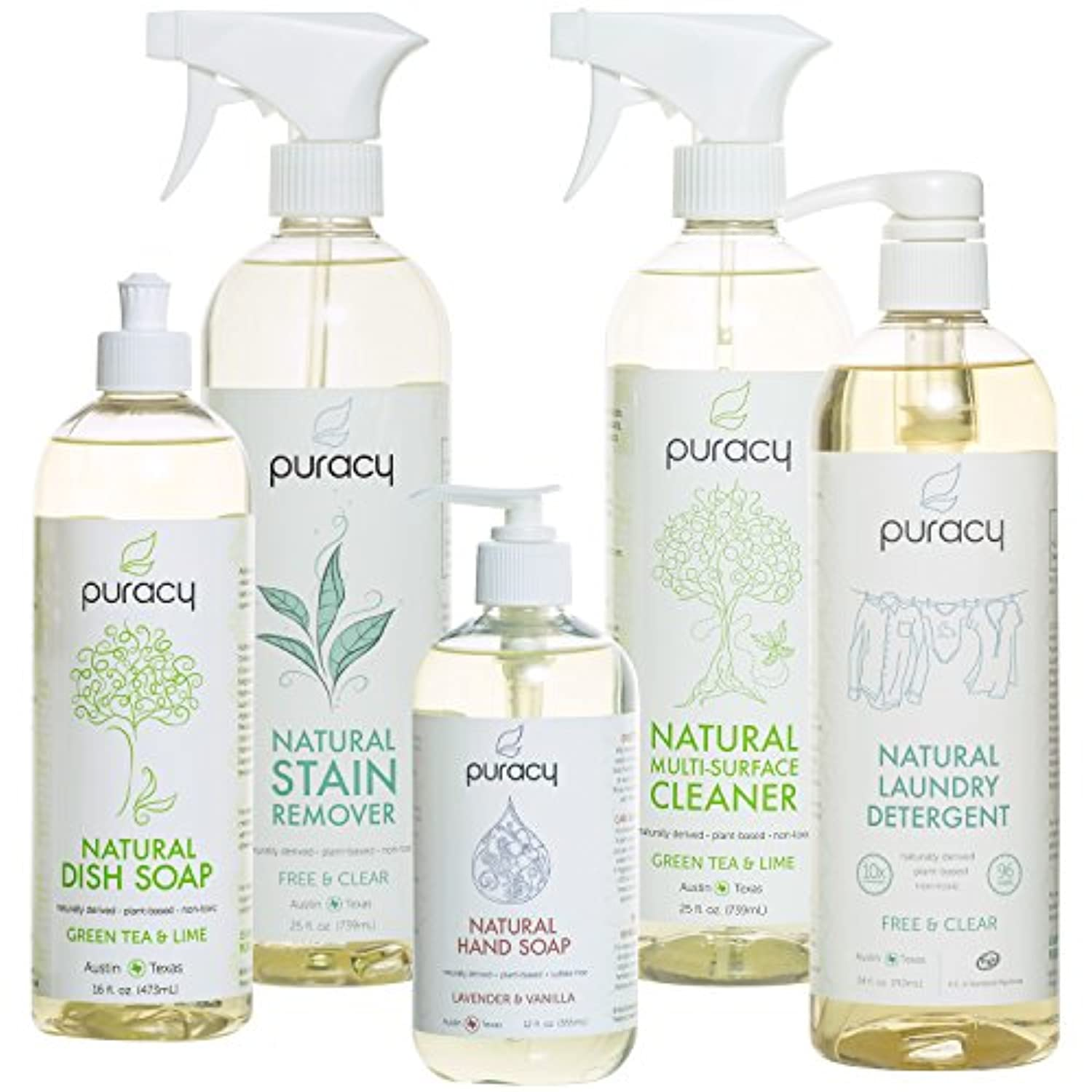 Puracy Natural Home Cleaning Essentials Set - Hand Soap, Dish Soap, Laundry Detergent, Multi-Surface Cleaner,...