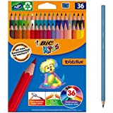 Colourful BIC Kids Evolution ECOlutions Colouring Pencil - Assorted Colours, Pack of 36 Coloured Pencils for Kids, (950526)
