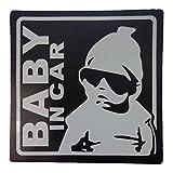 BABY IN CAR 赤ちゃん 乗車中 ( 12cm マグネット ステッカー ブラック )