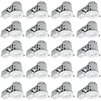 """4"""" Swivel Spotlight Recessed Lighting Kit Dimmable Downlight, Contractor's, White Finish, Easy Install Push-N-Click Clips, Globe Electric 90948 (Pack of 20) [並行輸入品]"""